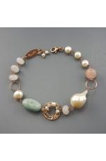 Bracciale  acquamarina, perle di fiume, filigrana
