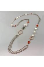 Collana labradorite,a.arancione, perle