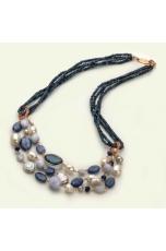 Collana multifili agata blu zaffiro,perle di fiume,calcedonio, cianite