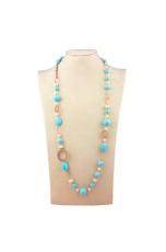 Collana pasta turchese 4 fiori, perle di fiume