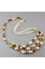 Collana perle di fiume, ambra messicana