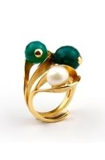 anello agata verde smeraldo, perle di fiume