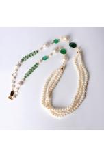 Collana Perle di fiume, castoni agata verde smeraldo