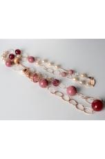 Collana rodonite, perle di fiume, spirale filigrana argento rosè