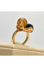 Anello ambra messicana, agata nera