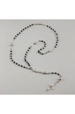 Collana unisex rosario spinello nero, croce filigrana
