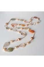 Collana,  agata multicolor, perle di fiume