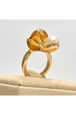 Anello ambra messicana, perla di fiume