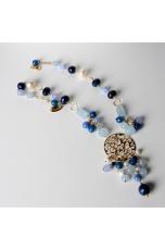 Collana, agata blu zaffiro, perle di fiume, giada celeste