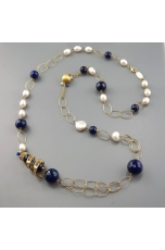 Collana, agata blu zaffiro, spirale filigrana