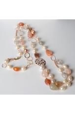 Collana, agata multicolor,perle di fiume
