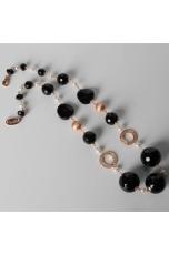Collana, agata nera, perle di fiume, filigrana