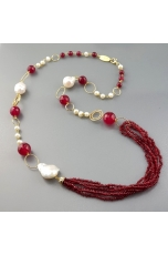 Collana, agata ruby, perle di fiume barocche