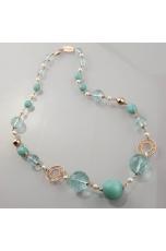 Collana, amazzonite, ossidiana, perle di fiume