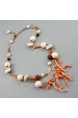 Collana, corallo rosa, perle di fiume, lava
