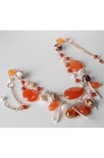 Collana, corniola, perle  di fiume