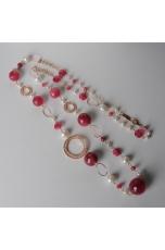 Collana, giada rosa