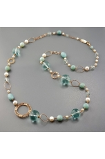 Collana, ossidiana, amazzonite, perle di fiume