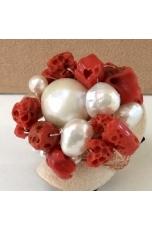 Anello corallo rosso sardo, perle coltivate