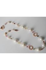 Collana, perle di fiume barocche, tormaline