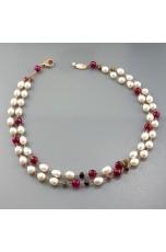 Collana, perle di fiume, agata ruby, tormaline