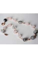 Collana, quarzo grigio, quarzo rosa, perle di fiume