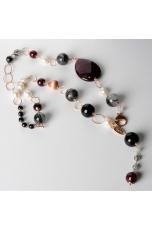 Collana, quarzo rutilato  grigio, perle di fiume, agata ruby