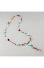 Collana, rosarietto ametista, pasta turchese 4 fiori,perle, corallo rosa