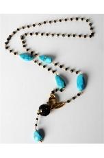 Collana, rosarietto nero, turchese Arizona