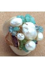 Anello giada criso, perle di fiume, ametista, acquamarina, q. citrino