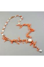Collana, rosarietto perle di fiume,corallo rosa