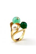 Anello giada crisopaz, agata verde, perle di fiume