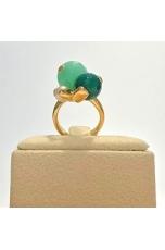 Anello giada Crisopaz, agata verde,perla di fiume