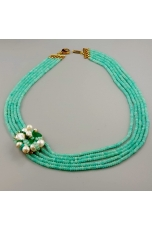Collier a 5 fili giada criso, agata verde smeraldo