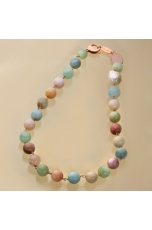 Collier acquamarina multicolor 12 mm