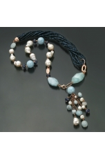 Collier agata blu zaffiro, acquamarina, perle barocche