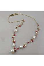 Collier agata ruby, perle barocche