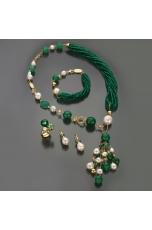 Collier agata verde smeraldo, q.citrino, perle di fiume