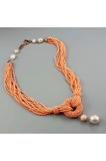 Collier bamboo rosa, perla barocca