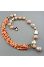 Collier corallo bamboo rosa e perle barocche bianche