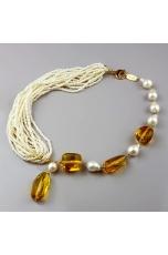 Collier perle di fiume, ambra messicana