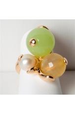 Anello giada verde lemon, agata gialla,  perla di fiume