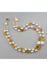 Girocollo a due fili,perle barocche ambra messicana