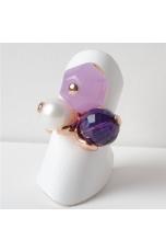 Anello giada viola, ametista idrotermale, perla di fiume