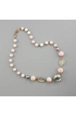 Girocollo conchiglia rosa, perla barocca grigia