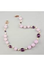 Girocollo giada lavanda,castoni ametista, perle