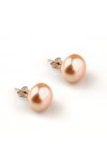 Orecchini  perle coltivate  piatte 13-13,5 mm rosa