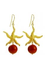 Orecchini bamboo rosso, stella marina in arg.dorato