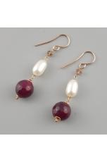 Orecchini, agata ruby, perle coltivate