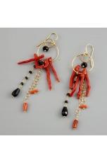 or big corallo rosso, spinello e agata nera